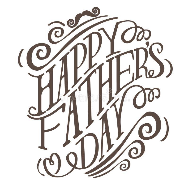 Gelukkige de typografieeps 10 van de Vadersdag hand getrokken vector stock illustratie