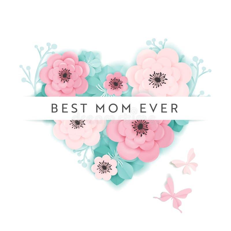 Gelukkige de Vakantiebanner van de Moedersdag Van de de Groetkaart van de moederdag de Lentedocument van Hello Besnoeiingsontwerp royalty-vrije illustratie