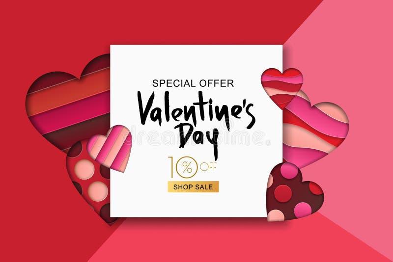 Download Gelukkige De Verkoopbanner Van De Valentijnskaartendag Ontwerp Voor Vakantievlieger, Affiche, Groetkaart, Partijuitnodiging Vecto Vector Illustratie - Illustratie bestaande uit origami, groet: 107706019