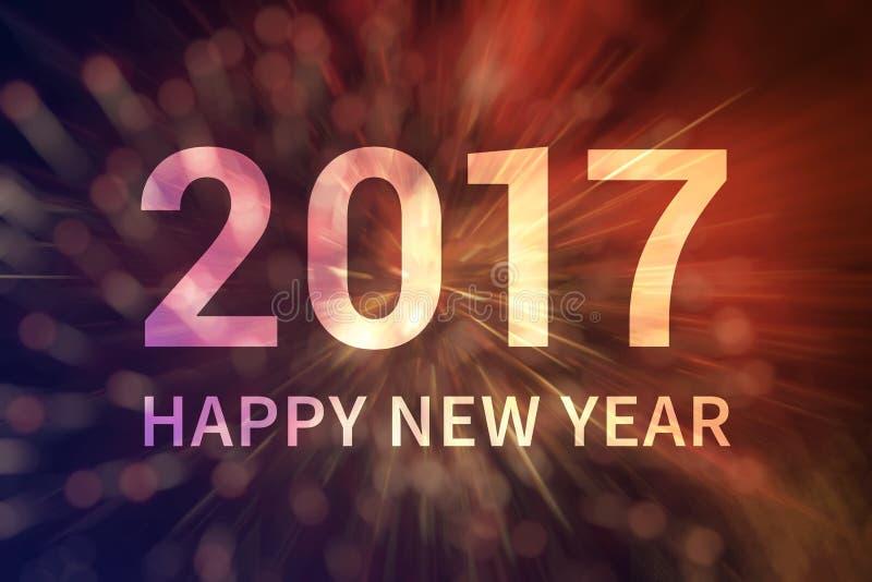 Gelukkige de vertoningsaffiche van de Nieuwjaar 2017 uitnodiging royalty-vrije illustratie