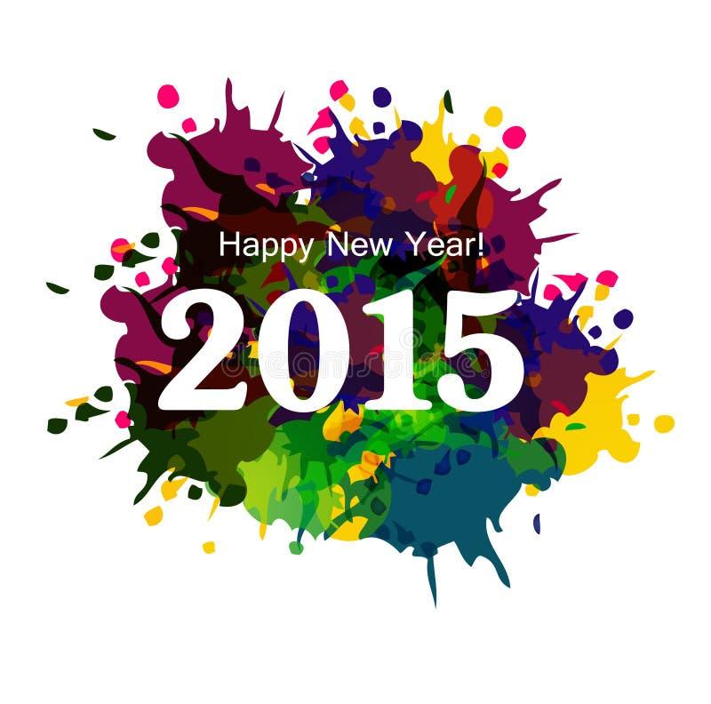 Gelukkige de vierings mooie kaart v van Nieuwjaar 2015 kleurrijke grunge vector illustratie