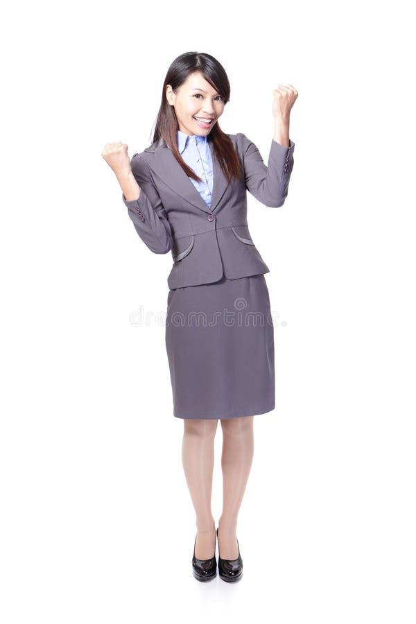Gelukkige de winnaar van het Bedrijfs succes vrouw stock afbeeldingen