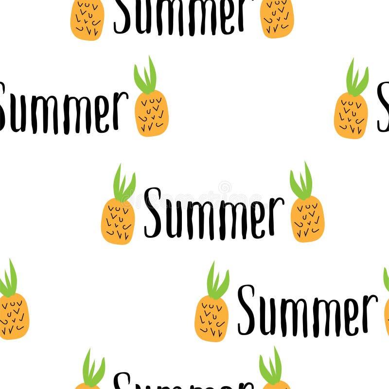 Gelukkige de Zomerinschrijving op de achtergrond van ananas Vector illustratie Getrokken hand stock illustratie