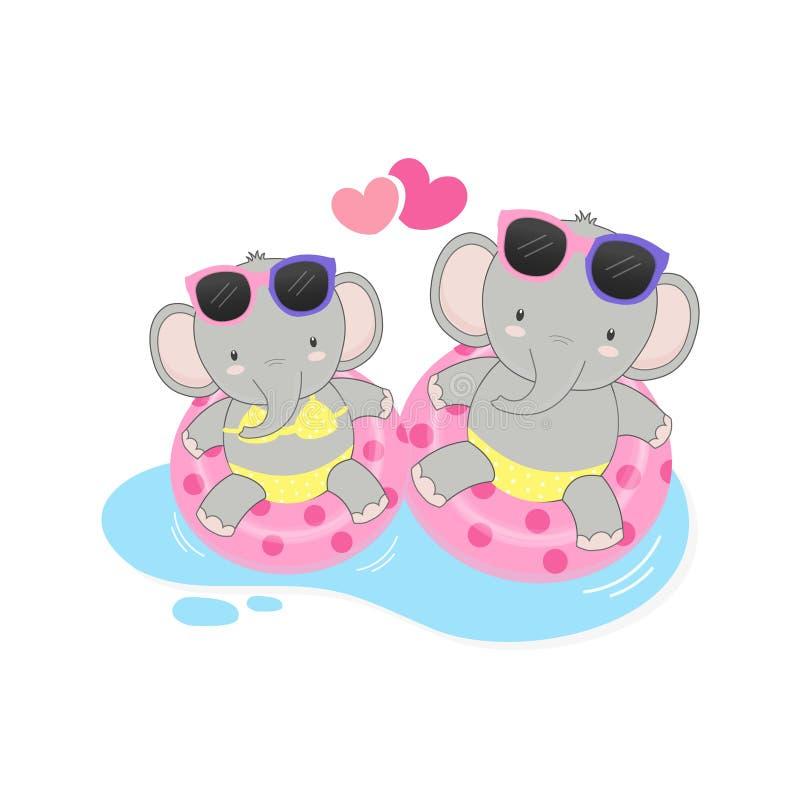 Gelukkige de zomervakantie De leuke de slijtagebikini van de paarolifant en zwemt ringsbeeldverhaal stock fotografie