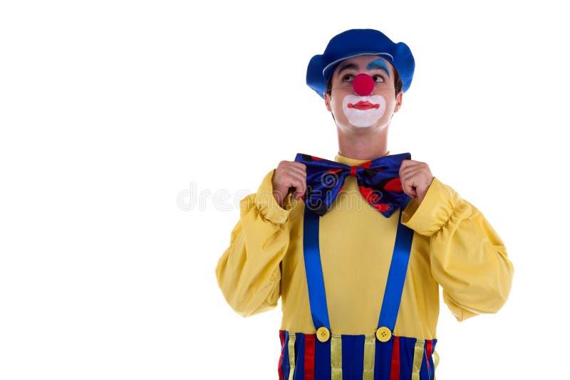 Gelukkige die Clown op witte achtergrond wordt geïsoleerd stock afbeeldingen