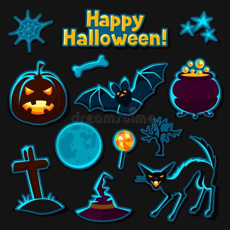 Gelukkige die Halloween-sticker met karakters wordt geplaatst en stock illustratie