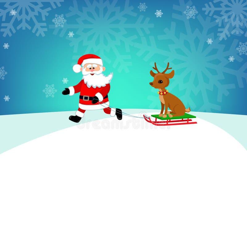 Gelukkige die Kerstman in een arrendier wordt gedreven De illustratie van het beeldverhaal vector illustratie