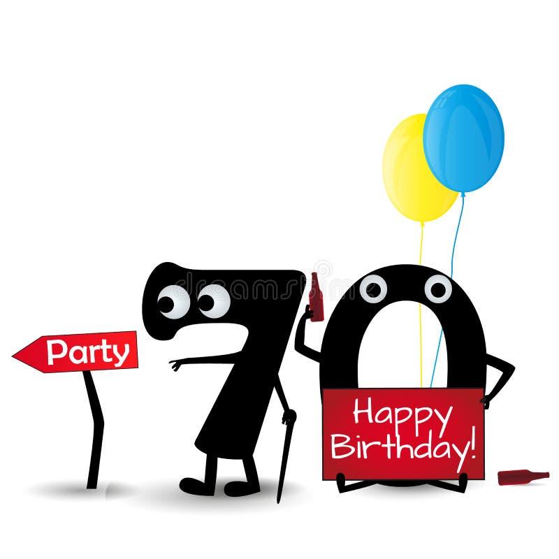 Gelukkige die verjaardagskaart 70 het malplaatje van de partijuitnodiging op witte achtergrond wordt geïsoleerd stock illustratie