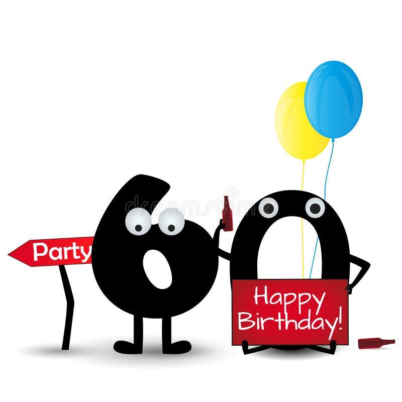 Gelukkige die verjaardagskaart 60 het malplaatje van de partijuitnodiging op witte achtergrond wordt geïsoleerd vector illustratie