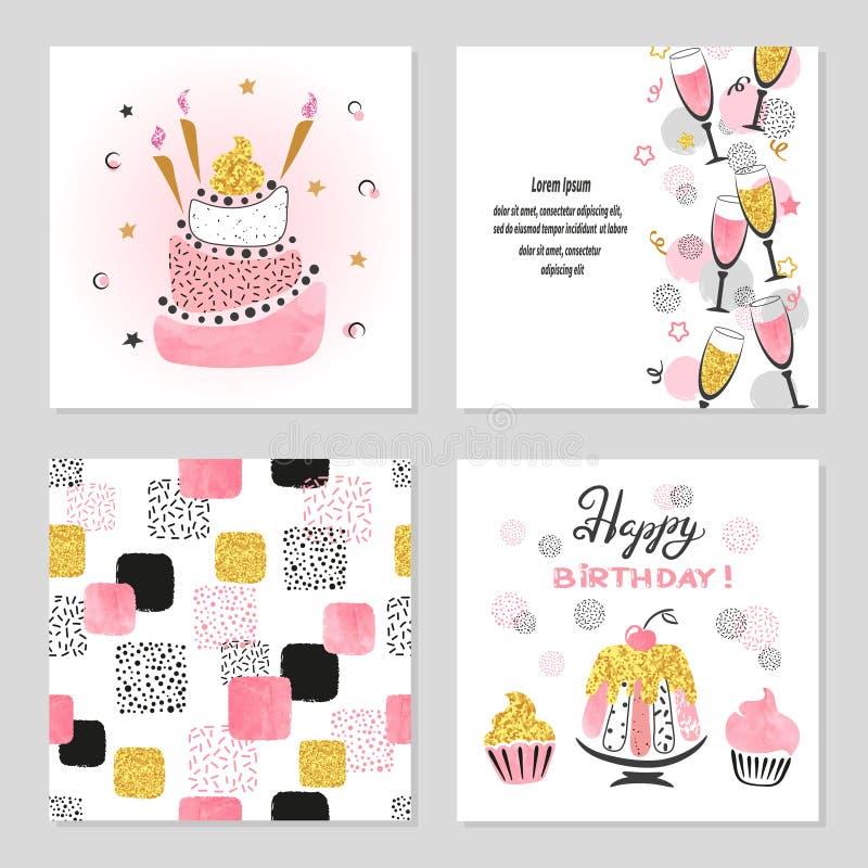 Gelukkige die Verjaardagskaarten in roze en gouden kleuren worden geplaatst stock illustratie