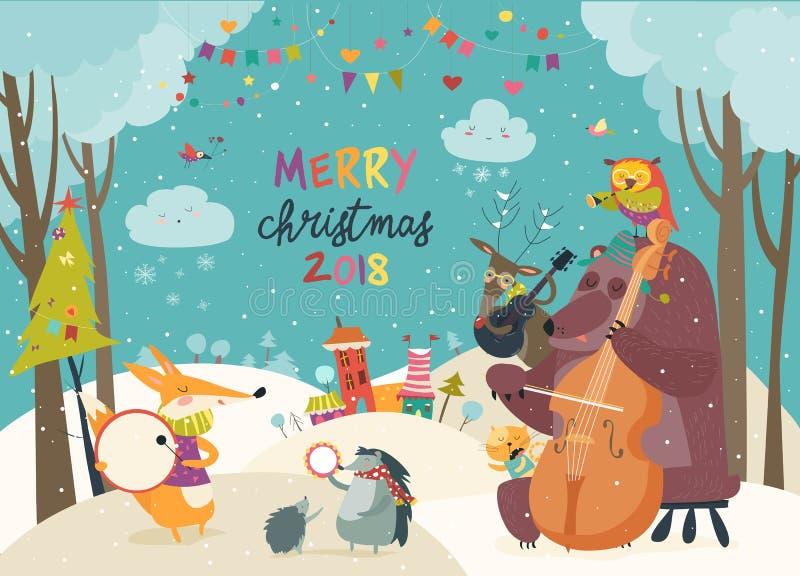 Gelukkige dieren die Kerstmis vieren royalty-vrije illustratie