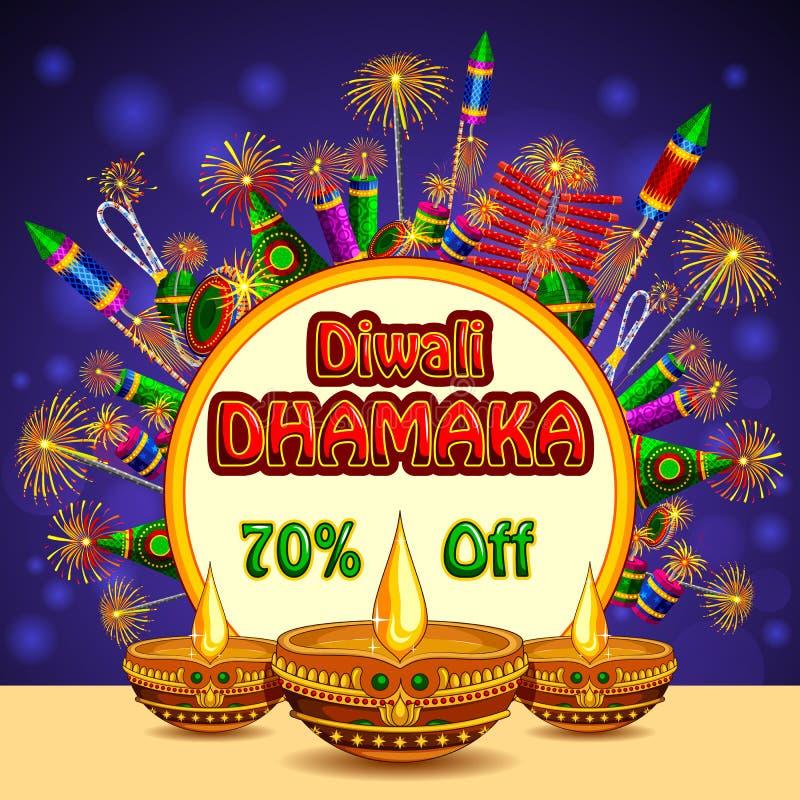 Gelukkige Diwali-bevorderingsachtergrond met kleurrijke voetzoeker en diya royalty-vrije illustratie