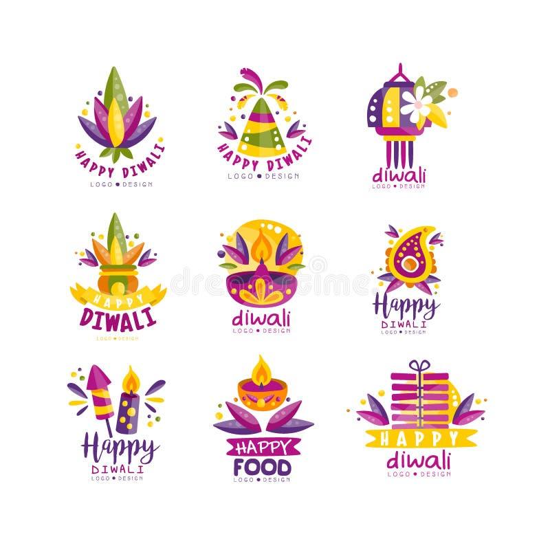 Gelukkige Diwali-embleemontwerpset, Hindoes festival van lichtenetiketten, affiche, uitnodiging, vlieger, de malplaatjesvector va royalty-vrije illustratie