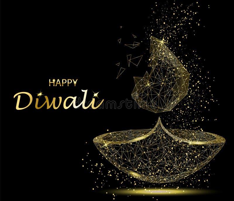 Gelukkige Diwali-Groetkaart Deepavalilicht en brandfestival vector illustratie
