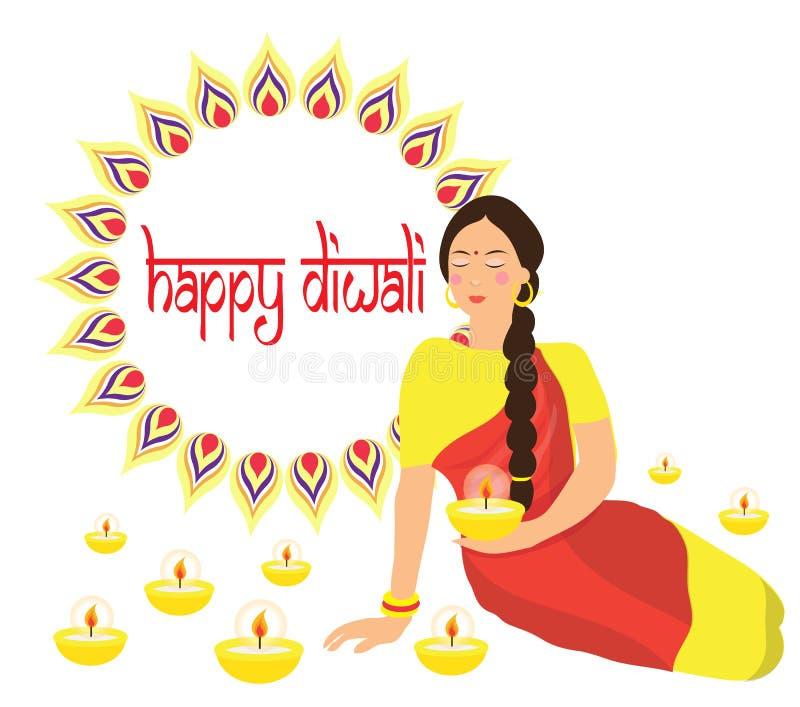 Gelukkige Diwali Het Indische Hindoese festival van Deepavali van lichten Vrouw die een kaars in haar handen houden Vlakke ontwer stock illustratie