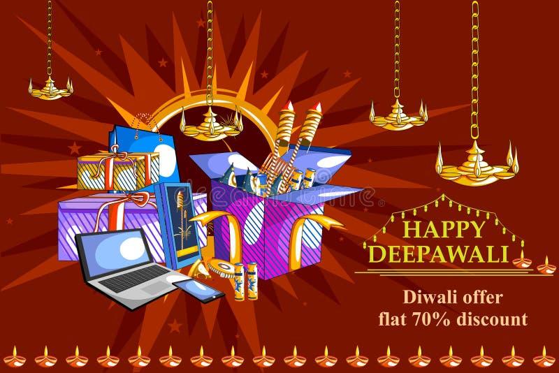 Gelukkige Diwali-het winkelen verkoopaanbieding verfraaide diya voor het festival van India stock illustratie