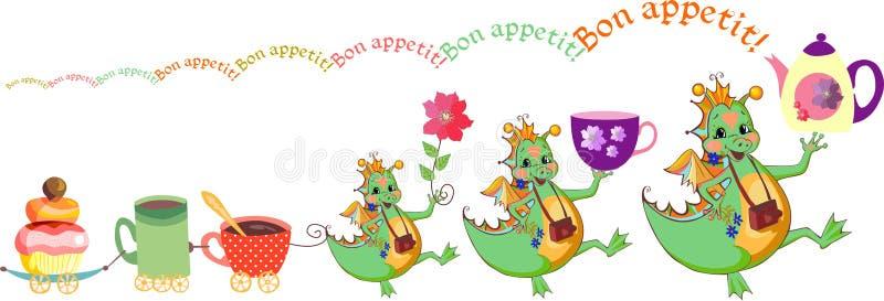 Gelukkige drakenwens bon appetit Leuke kaart met draken, theekopjes en cupcake trein royalty-vrije illustratie