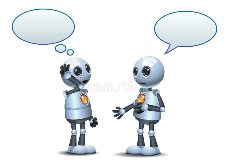 gelukkige droid twee weinig robotgesprek op geïsoleerd wit royalty-vrije illustratie