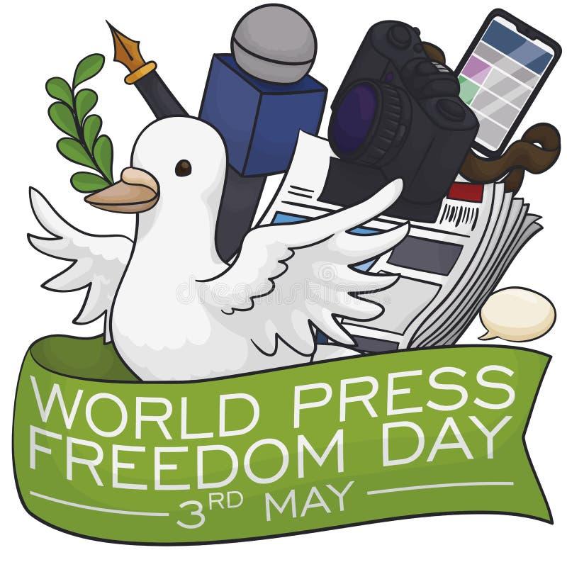 Gelukkige Duif met de Dag van de de Persvrijheid van Journalistelements celebrating world, Vectorillustratie stock illustratie