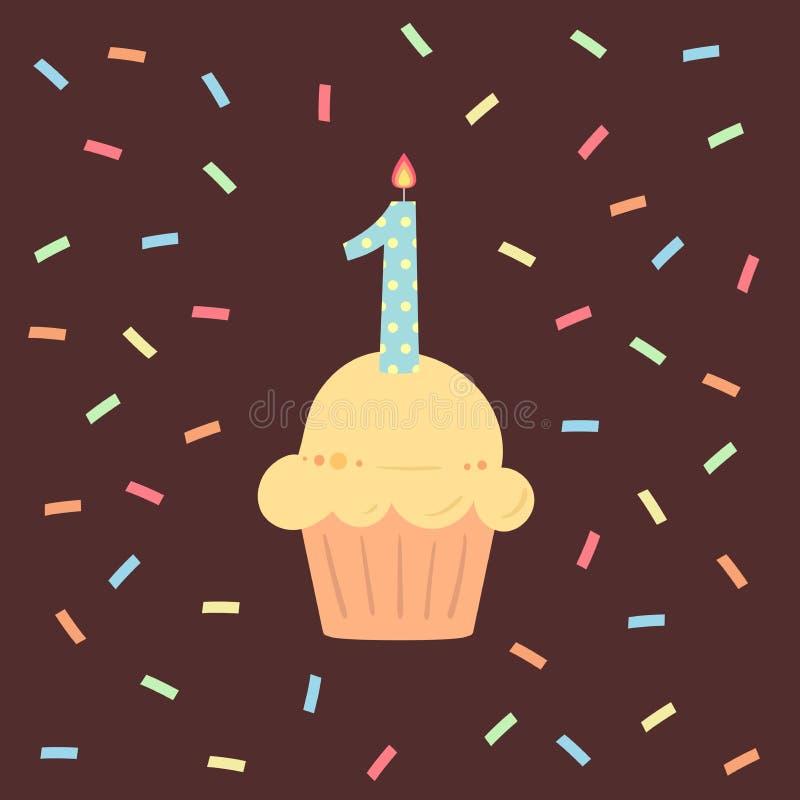 Gelukkige Eerste Feestvarkenkaart met cupcake en kaars op bruine achtergrond in vlakke ontwerpstijl, vectorillustratie royalty-vrije illustratie