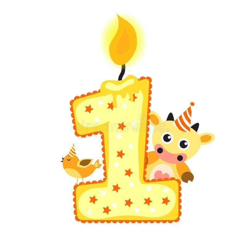 Geliefde Gelukkige Eerste Verjaardagskaars En Dieren Op Wit, Verjaardag 1  #BL84