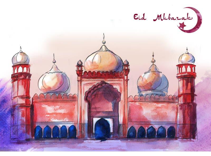 Gelukkige Eid, mooie de groetkaart van Eid Mubarak, horizontale regeling, met de Roze en Purpere achtergrond van de waterverfkuns stock illustratie