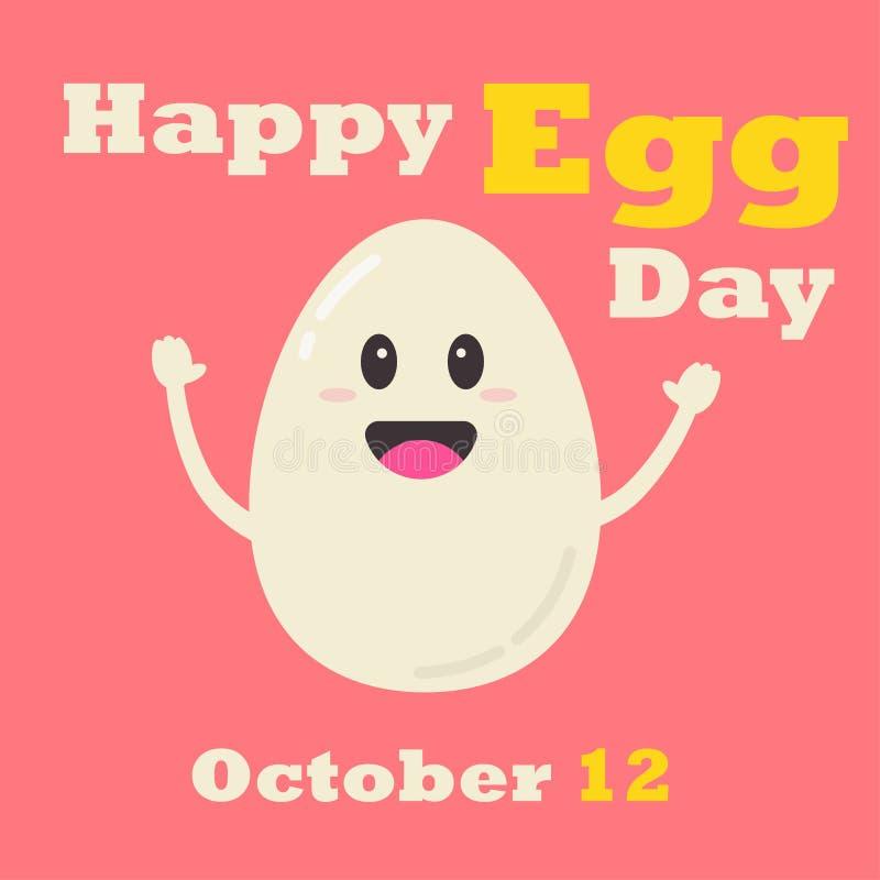 Gelukkige Eidag op 12 Oktober Vectorillustratie die van het glimlachen van ei de handen omhoog opheffen royalty-vrije illustratie