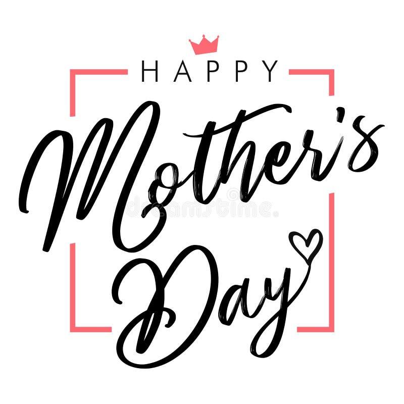 Gelukkige elegante zwarte van letters voorziende de groetkaart van de Moedersdag royalty-vrije illustratie