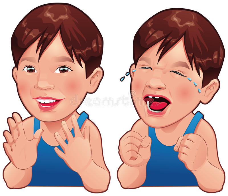 Gelukkige en Droevige jongen. vector illustratie