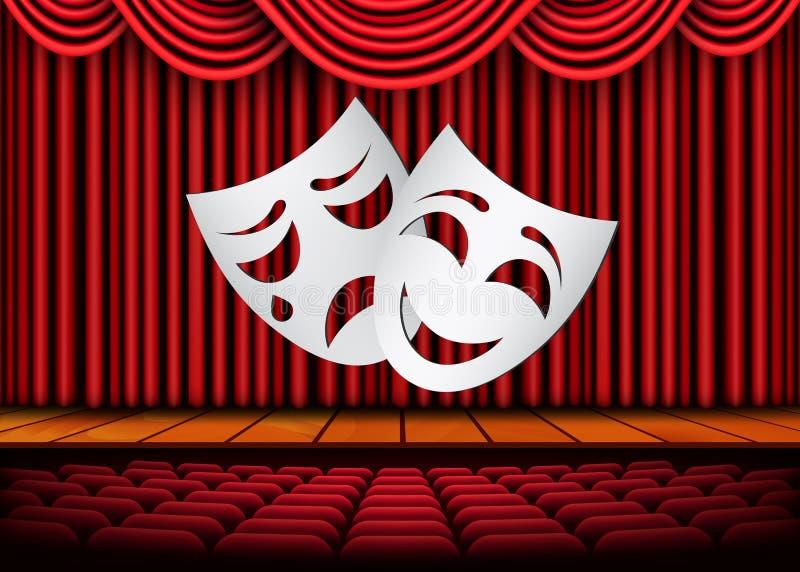 Gelukkige en droevige theatermaskers, Theatrale scène met rode gordijnen De VectorIllustratie van de voorraad stock illustratie