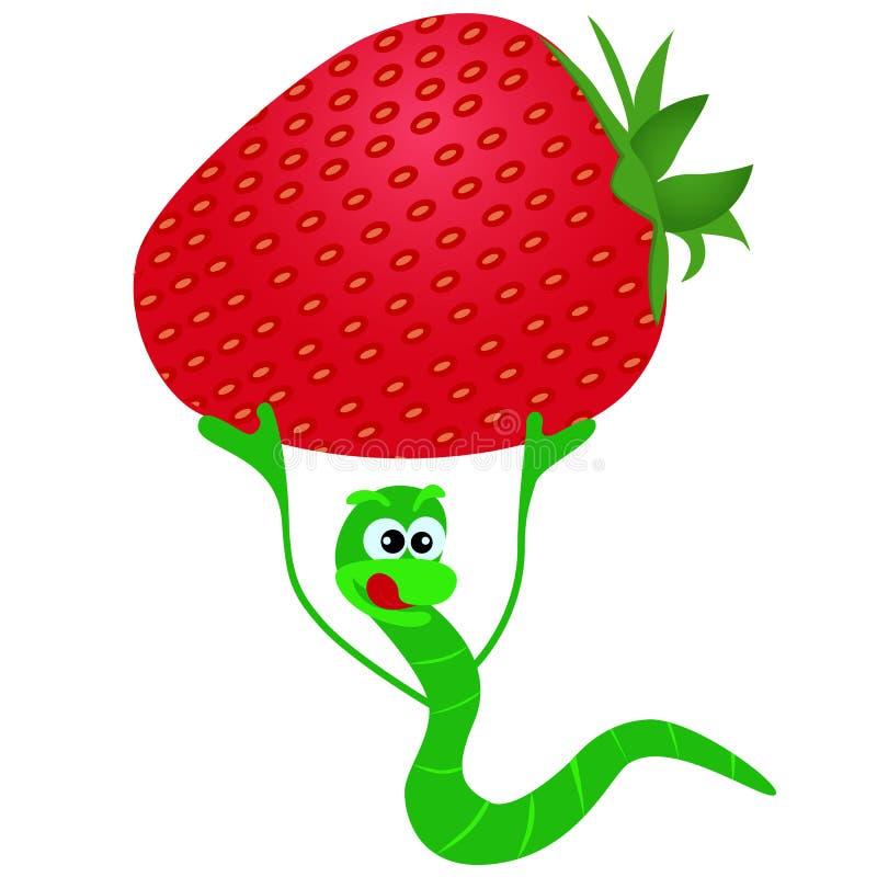 Gelukkige en grappige worm met aardbeien royalty-vrije illustratie