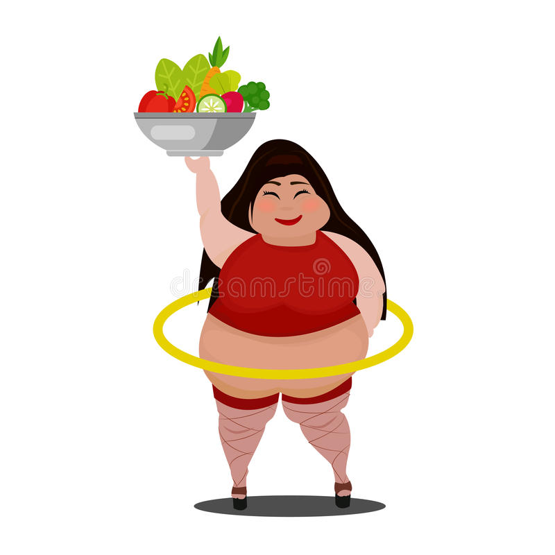 Gelukkige en opgewekte echte vrouw met verse groenten vector illustratie