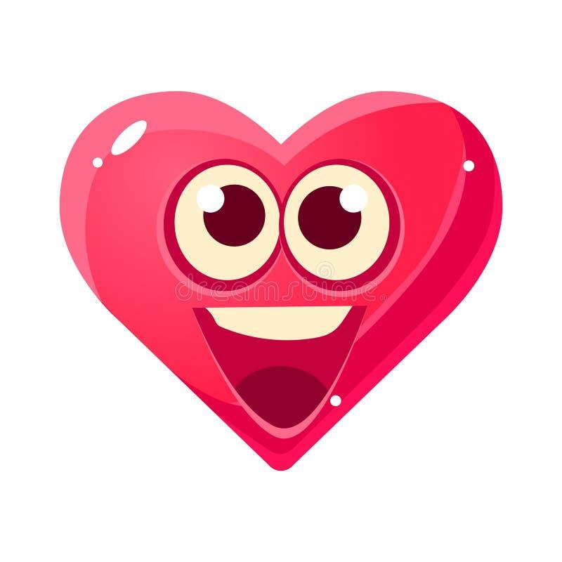 Gelukkige en Opgewekte Emoji, Roze Hart Emotioneel Gelaatsuitdrukking Geïsoleerd Pictogram met het Beeldverhaal van Emoticon van  stock illustratie