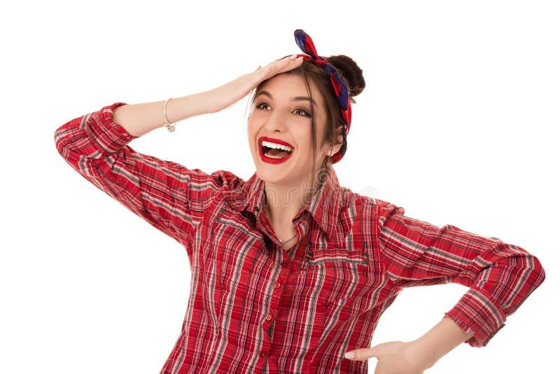 Gelukkige en verbaasde vrolijke rijpe vrouw wat betreft haar hoofd, omdat zij verrast is royalty-vrije stock foto