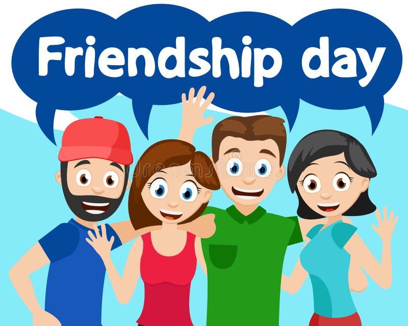 Gelukkige en vrienden die koesteren golven Vriendschapsdag vector illustratie