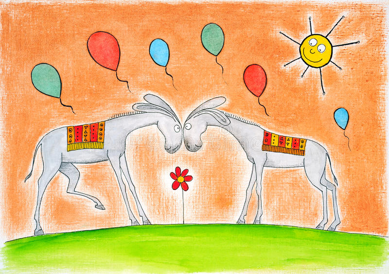 Gelukkige ezels met ballons, childs tekening, water vector illustratie
