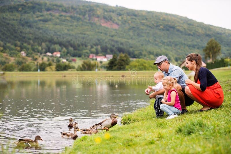 Gelukkige familie in aard in de zomer stock afbeeldingen