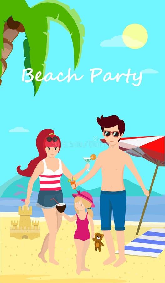 Gelukkige Familie bij de Banner van de de Dagtijd van de Strandpartij, Vlieger royalty-vrije illustratie