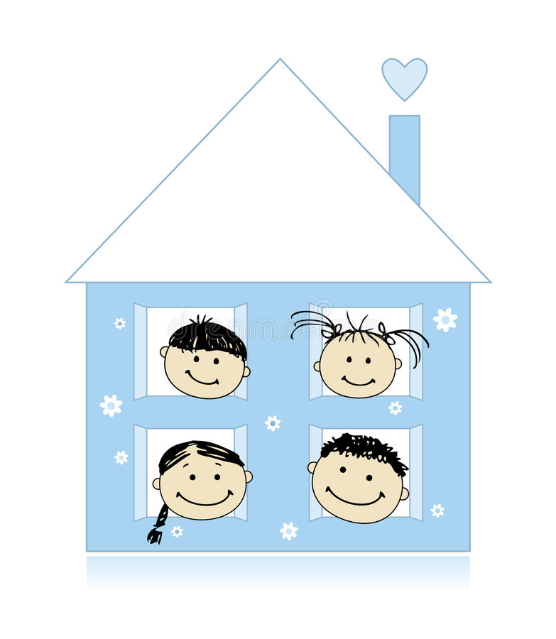 Gelukkige familie bij het eigen huis samen glimlachen stock illustratie