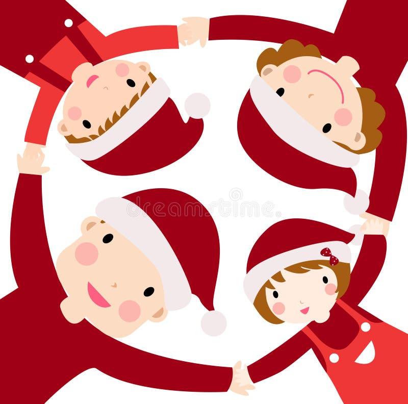 Gelukkige familie bij Kerstmis stock illustratie