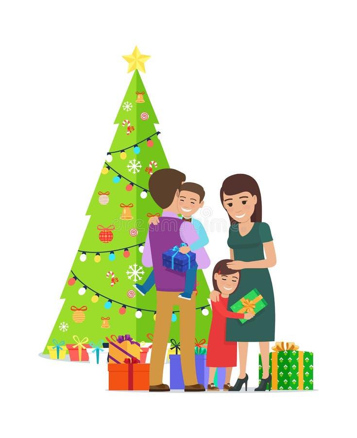 Gelukkige Familie bij Kerstmis op Vectorillustratie royalty-vrije illustratie