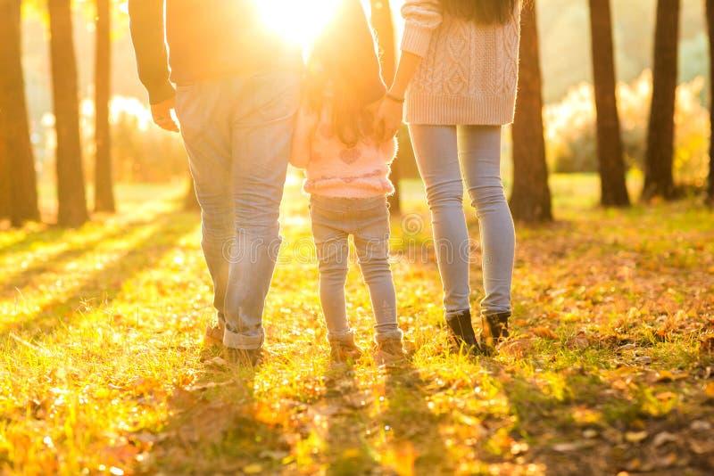 Gelukkige familie bij zonsondergang in de bostribune met hun binnen ruggen stock foto
