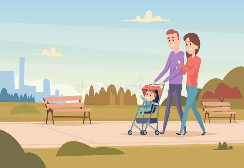 Gelukkige Familie De moeder en de vader met de familie van de kinderenliefde koppelen het openlucht spelen aan van jonge geitjesj stock illustratie