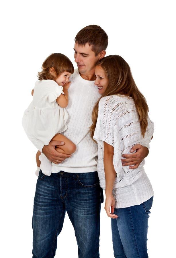 Gelukkige familie in de studio royalty-vrije stock afbeelding