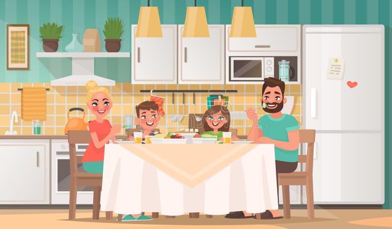 Gelukkige familie die in de keuken eten Vader, moeder, zoon en daug royalty-vrije illustratie