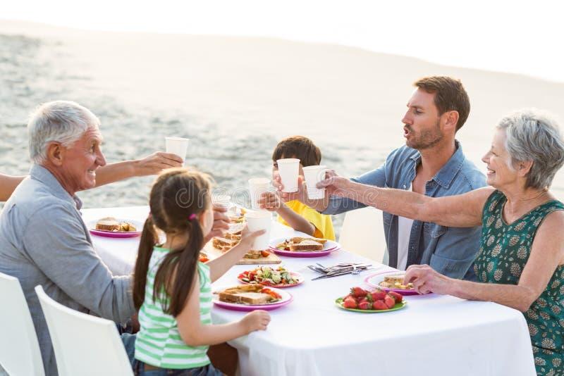 Gelukkige familie die een picknick hebben bij het strand royalty-vrije stock fotografie