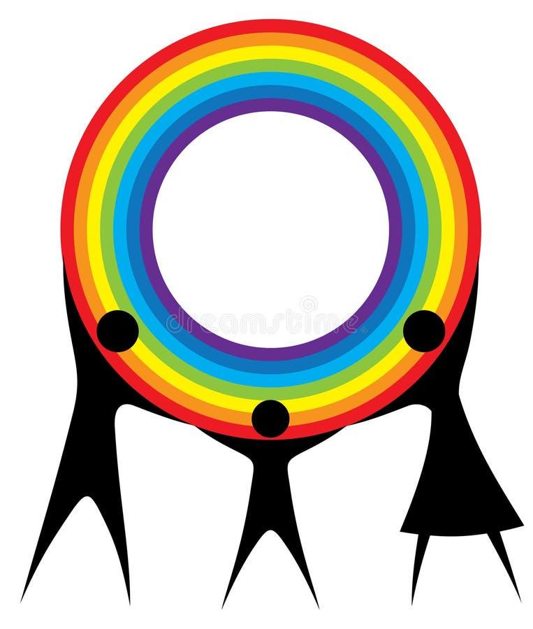 Gelukkige familie die een regenboog in uw handen houdt. vector illustratie