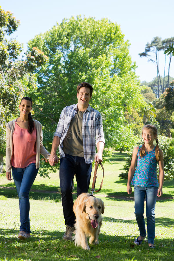 Gelukkige familie die hun hond in het park lopen stock afbeelding