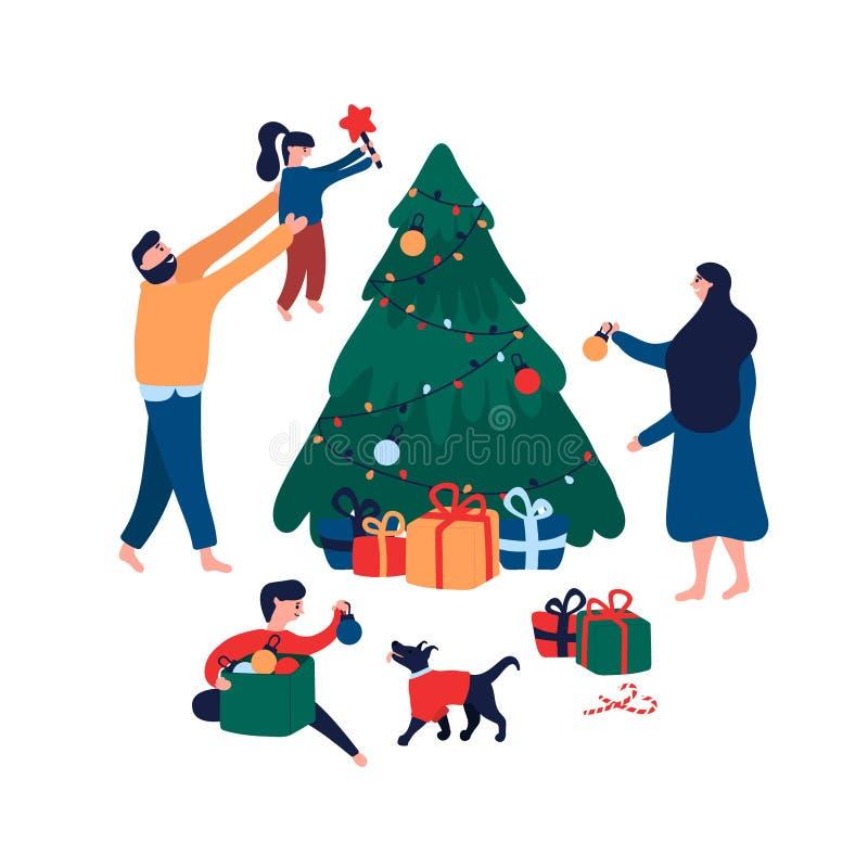 Gelukkige familie die Kerstboom met speelgoed, ster en slinger voor vakantie verfraaien stock illustratie