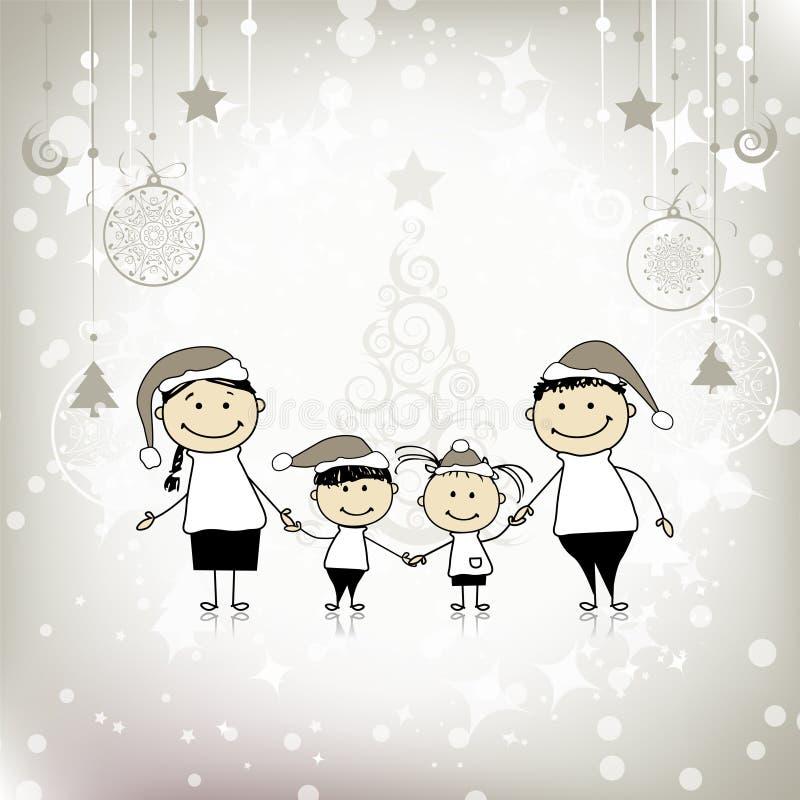 Gelukkige familie die, Kerstmisvakantie samen glimlacht vector illustratie
